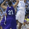 The North Carolina Tar Heels hosted Holy Cross Crusaders at the Dean Smith Center on Friday, November 15, 2013 in men's division I college basketball. The game was tied at halftime. UNC is coached by Roy Williams and College of the Holy Cross is coached by Milan Brown. (Photos ©2013 Kevin Seifert for Inside Carolina | www.insidecarolina.com)Holy Cross Men's Basketball 2013-14 RosterAnthony Thompson G Fr. 5-10 150 Glenn Dale, Md. / Bullis3Justin Burrell G Jr. 5-9 165 Dumfries, Va. / Potomac4Chris Jayne G Jr. 5-11 160 Newburyport, Mass. / Newburyport5Cullen Hamilton G So. 6-2 185 Washington, D.C. / Potomac (Va.)12Christopher Morgan F So. 6-7 215 Gloucester, Va. / Gloucester13Malcolm Miller F Jr. 6-7 210 Laytonsville, Md. / Gaithersburg15De'Vaughn Reid G Jr. 6-0 165 West Orange, N.J. / Rice (N.Y.)21Malachi Alexander F Fr. 6-7 217 Bowie, Md. / Eleanor Roosevelt22Robert Champion G Fr. 6-6 203 Charlotte, N.C. / Charlotte Catholic24Eric Green G/F So. 6-4 191 Mountain House, Calif. / St. Mark's (Mass.)25Isaiah Baker F So. 6-8 240 Wyncote, Pa. / Shipley30Riley Criswell F Fr. 6-8 205 Carrollton, Ga. / Carrollton40Patrick Kerrigan F Jr. 6-8 215 Fairfield, Conn. / Warde42Matt Husek C Fr. 6-11 240 Stewartsville, N.J. / Bethlehem Catholic (Pa.)43Taylor Abt F Jr. 6-8 225 Darnestown, Md. / Georgetown Prep50Dave Dudzinski F/C Sr. 6-9 227 Elburn, Ill. / KanelandUniversity of North Carolina Tar Heels 2013-14 Men's Basketball Roster0Britt, Nate G 5-11 165Fr. Upper Marlboro, Md. (Oak HIll Academy (Va.)/Gonzaga College HS (Washington DC))2McDonald, Leslie G 6-5 215Sr. Memphis, Tenn. (Briarcrest Christian School)3Meeks, Kennedy F 6-9 290Fr. Charlotte, N.C. (West Charlotte)4Davis, Luke G 6-0 175Jr. Raleigh, N.C. (Ravenscroft)5Paige, Marcus G 6-1 175So. Marion, Iowa (Linn-Mar)11Johnson, Brice F 6-9 210So. Orangeburg, S.C. (Edisto)13