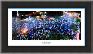 20x10 framed photographic print of the 2009 NCAA Franklin Street Celebration.