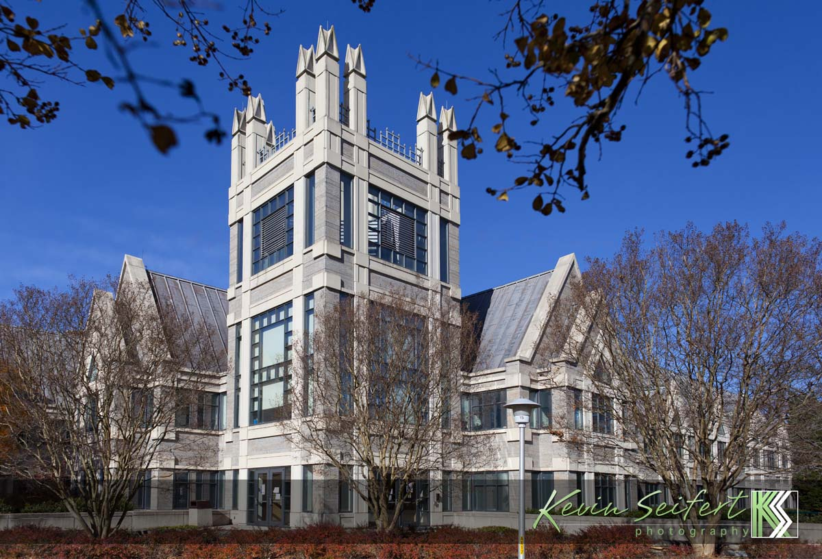 Modern gothic architecture of the sanford building at duke university