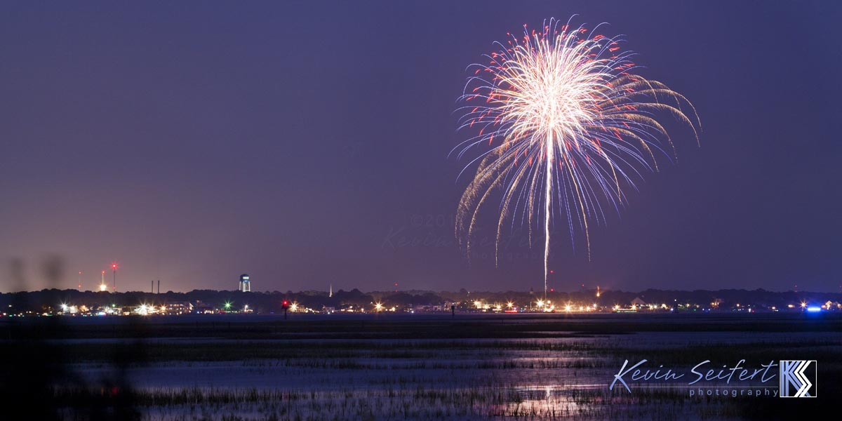 Fireworks over the Cape Fear River